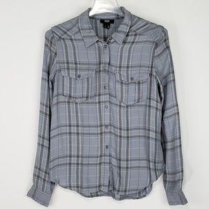 Paige Silver Grey Smoked Pearl Plaid Shirt - SZ S
